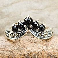 Onyx and marcasite band ring, 'Princess Crown' - Handcrafted Onyx and Silver Ring with Marcasites
