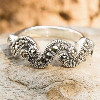 Marcasite band ring, 'River of Starlight' - Handcrafted Silver and Marcasite Ring from Thailand