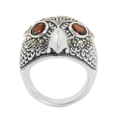 Owl Theme Handcrafted Marcasite and Garnet Cocktail Ring