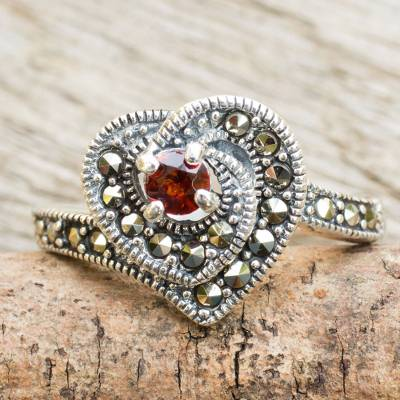 Marcasite and garnet cocktail ring, 'Scarlet Heart' - Handcrafted Marcasite and Garnet Heart Theme Cocktail Ring