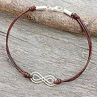 Leather and sterling silver bracelet, 'Infinite Friendship in Brown' - Sterling Silver and Brown Leather Bracelet from Thailand