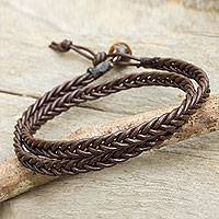 Men's tiger's eye and leather wrap bracelet, 'Double Chocolate' - Hand Braided Brown Leather Mens Wrap Bracelet