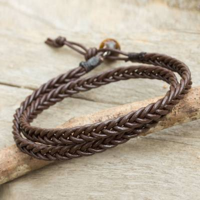 Mens tigers eye and leather wrap bracelet, Double Chocolate
