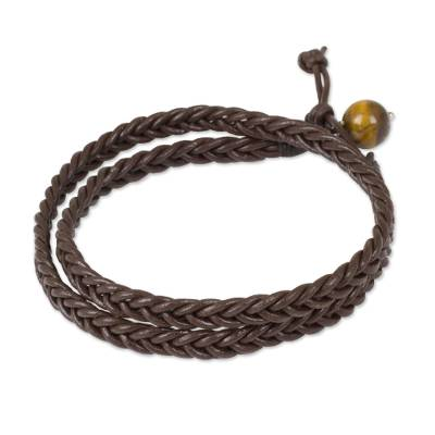 Handmade Mens Braided Brown Leather Wrap Bracelet