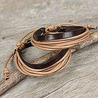 Men's leather wristband bracelets, 'Bold Tan Contrast' (pair) - Brown Leather and Tan Cotton Bracelets for Men (Pair)