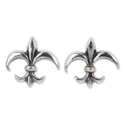 Thailand Fleur de Lis Sterling Silver Stud Earrings