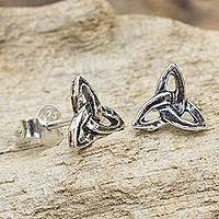 Sterling silver stud earrings, 'Celtic Trinity' - Handcrafted Celtic Trinity Knot Sterling Silver Earrings