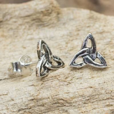 Sterling silver stud earrings, Celtic Trinity