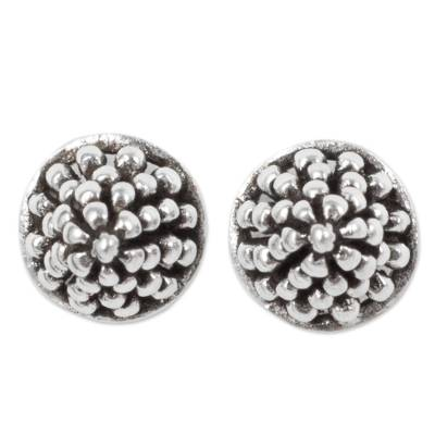 Fair Trade Silver Berry Theme Stud Earrings