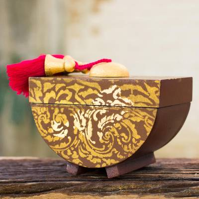 Decorative wood box, 'Siam Bliss' - Silk Screen Thai Leaves on Brown Decorative Wood Box