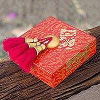 Wood jewelry box, 'Scarlet Gold' - Artisan Crafted Jewelry Box in Red and Gold with Tassels