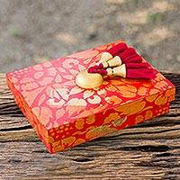 Wood jewelry box, 'Floral Gold in Scarlet' - Red Jewelry Box with Golden Floral Theme and 4 Compartments
