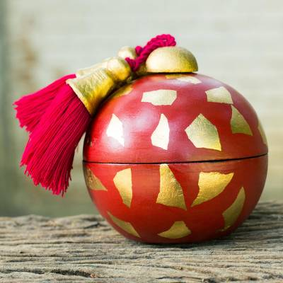 Decorative wood box, 'Red Golden Bauble' - Artisan Crafted Decorative Wood Box in Red and Gold