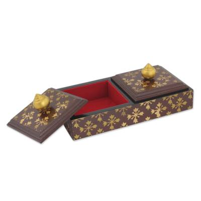 Wood jewelry box, 'Stupa Treasures in Brown' - Artisan Crafted Jewelry Box with Two Lined Compartments