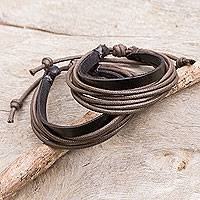 Men's leather wristband bracelets, 'Bold Brown Contrast' (pair) - Men's Black Leather and Brown Cotton Bracelets (Pair)