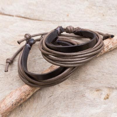 Men's leather wristband bracelets, 'Bold Brown Contrast' (pair) - Men's Black Leather and Brown Cotton Bracelets (Pair)