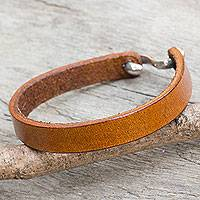 Men's leather wristband bracelet, 'Minimalist Honey' - Men's Handcrafted Minimalist Golden Brown Leather Bracelet