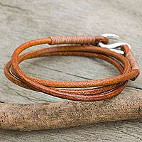Leather and silver wrap bracelet, 'Slender Sorrel' - Women's Handcrafted Leather Wrap Bracelet in Sorrel Brown