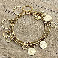 Gold plated garnets wrap bracelet, 'Retro Eclipse' - Garnets on Gold Plated Wrap Bracelet Handcrafted