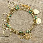 Gold Plated Wrap Charm Bracelet with Green Chalcedony, 'Retro Eclipse'