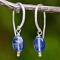 Kyanite dangle earrings, 'Accents' - Kyanite on Sterling Silver Hook Earrings with 24k Gold Beads