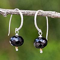 Onyx dangle earrings, 'Accents' - Onyx on Sterling Silver Hook Earrings with 24k Gold Beads