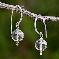Quartz dangle earrings, 'Accents' - Quartz and 24k Gold Beads on Sterling Silver Hook Earrings