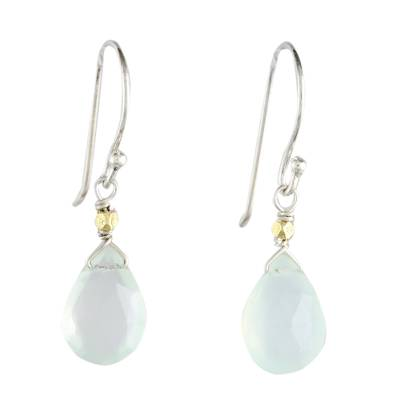 Thailand Blue Chalcedony Gold Accent Silver Earrings