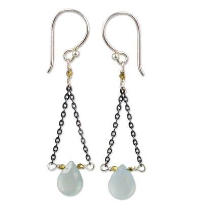 Handmade Dangle Earrings with Blue Chalcedony