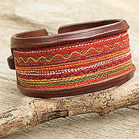 Leather and cotton wristband bracelet,