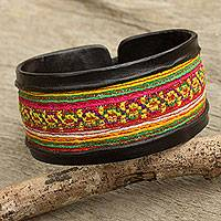 Leather and cotton wristband bracelet, 'Hill Tribe Festivity' - Black Leather Bracelet with Hill Tribe Embroidery
