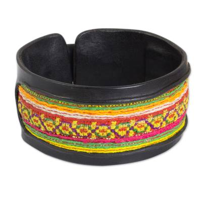 Black Leather Bracelet with Hill Tribe Embroidery