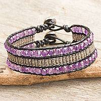 Amethyst wristband bracelet, 'Hill Tribe Artistry' - Amethyst Thai Hill Tribe Silver Beaded Leather Bracelet