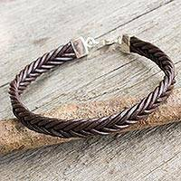 Braided leather bracelet, 'Assertive in Brown' - Thai Brown Leather Braided Bracelet with Silver Clasp
