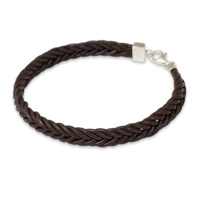 Thai Brown Leather Braided Bracelet with Silver Clasp