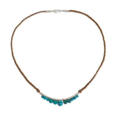 Calcite and Braided Leather Necklace with Sterling Silver