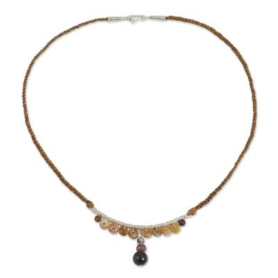 Jasper and Garnet Hand Braided Leather Necklace with Silver