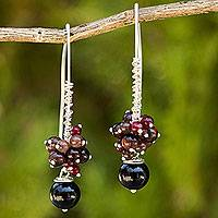 Multi-gemstone cluster earrings, 'Casual Enchantment' - Thai Multi-Gemstone Silver Artisan Crafted Cluster Earrings