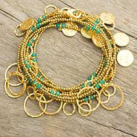 Gold plated chalcedony wrap bracelet, 'Siam Sea' - Gold Plated Wrap Bracelet with Charms and Chalcedony