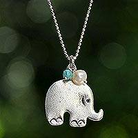 Cultured pearl pendant necklace, 'Charming Pachyderm' - Sterling Silver Elephant Necklace with Cultured Pearl