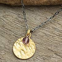 Gold plated amethyst pendant necklace, 'Lilac Harvest Moon' - Gold Plated and Amethyst Pendant Necklace on Sterling Chain