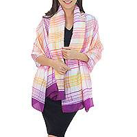Rayon and silk blend shawl, 'Sunny Rose Plaid' - Fair Trade Pink and Purple Silk Blend Shawl with Yellow
