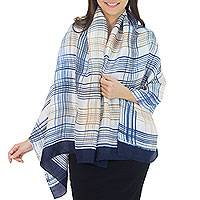 Rayon and silk blend shawl, 'Blue Plaid Song' - Thai Silk Blend Batik Shawl in Blue and Brown