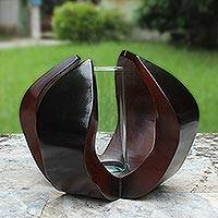 Mango wood and glass vase, 'Lotus Embrace' - Artisan Crafted Mango Wood Vase with Glass Insert