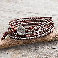 Silver wrap bracelet, 'Hill Tribe Boheme' - Thai Hill Tribe Silver Beads on Leather Wrap Bracelet