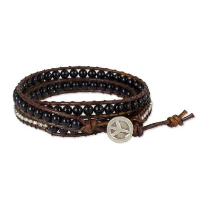 Onyx Beads on Brown Leather Wrap Bracelet from Thailand