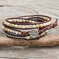 Jasper wrap bracelet, 'Hill Tribe Boheme' - Jasper and Silver on Leather Wrap Bracelet from Thailand