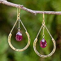 Gold plated garnet dangle earrings, 'Smiling Moons' - Thai Artisan jewellery Gold Plated and Garnet Earrings