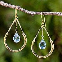 Gold plated blue topaz dangle earrings, 'Smiling Moons' - Gold Plated Sterling Silver and Blue Topaz Earrings
