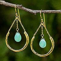Gold plated chalcedony dangle earrings, 'Smiling Moons' - Gold Plated Sterling Silver Earrings with Green Chalcedony